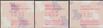 Australian Framas: Koala Button Set 43c, 65c, $1.20: Post Code 0800 Darwin
